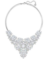 Swarovski Silver Tone Imitation Pearl And Crystal Cluster Collar Necklace