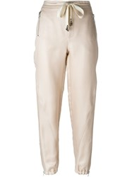 Ermanno Scervino Embelished Drawstring Tapered Trousers Nude And Neutrals
