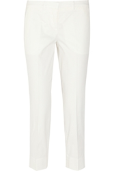 Miu Miu Cropped Stretch Cotton Twill Straight Leg Pants