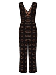 Ace And Jig Hot Cross Plunging Cotton Jumpsuit Black Multi