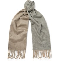 Begg And Co Arran Two Tone Cashmere Scarf Beige
