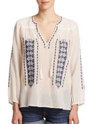 Joie Calantha Embroidered Cotton Tunic Porcelain