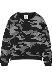 Zoe Karssen Camouflage Print Cotton Blend Sweatshirt Black