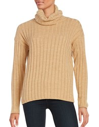 Lord And Taylor Merino Wool Ribbed Turtleneck Sweater Classic Camel Heather