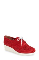 Women's Robert Clergerie 'Vicolek' Woven Wedge Oxford Red