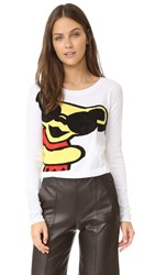 Alice Olivia Grateful Dead Bear Cropped Sweater White Multi