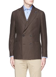 Lardini Double Breasted Linen Soft Blazer Brown