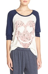 Lauren Moshi Graphic Raglan Tee Faded White Blue Magic
