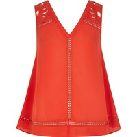 River Island Womens Red Lace Tank Top