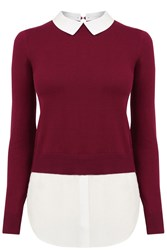 Oasis Shirt Tail Sweater Burgundy