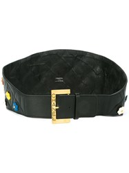 Chanel Vintage Camellia Flower Waist Belt Black