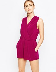 Love Sleeveless Wrap Playsuit Oxblood Red