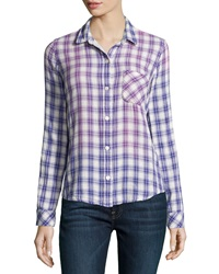 Current Elliott The Slim Boy Shirt Cobalt Field Plaid