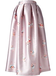 Rochas Ballerina Print Pleated Skirt Pink And Purple