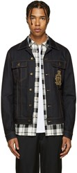 Dolce And Gabbana Blue Denim Beaded Crest Jacket