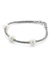 Lagos 18K Gold And Sterling Silver Luna Rope Bracelet With Cultured Freshwater Pearls White Silver