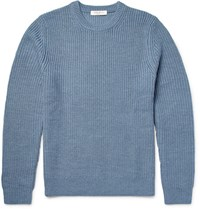 Sandro Ribbed Merino Wool Blend Sweater Blue