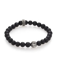 King Baby Studio Onyx And Silver Feather Beaded Bracelet Black