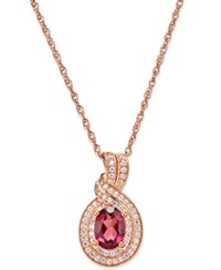 Macy's Rhodolite Garnet 1 Ct. T.W. And Diamond 1 4 Ct. T.W. Pendant Necklace In 14K Rose Gold Red