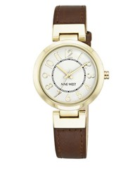 Nine West Goldtone Brown Leather Strap Watch Nw 1908Wtbn