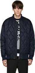 Diesel Black Gold Navy Nylon Quilted Bomber Jacket