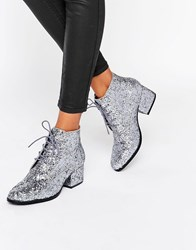 London Rebel Glitter Lace Up Mid Heel Ankle Boot Pewter Glitter Silver