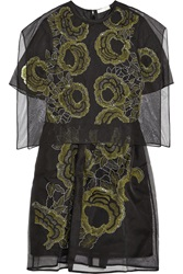 Michael Van Der Ham Embroidered Silk Organza Dress Black