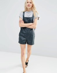 Asos Leather Look Pinafore Playsuit Teal Navy