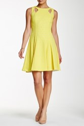 Tahari Laser Cut Ponte Fit And Flare Dress Yellow
