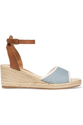 Soludos Leather And Denim Espadrille Wedge Sandals Blue