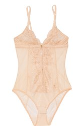 Mimi Holliday By Damaris Every Yours Silk Trimmed Lace Bodysuit Neutral