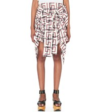 Anglomania Hope Checked Stretch Cotton Skirt Nat W Blood Greek