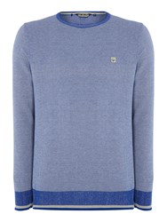 Duck And Cover Textured Crew Neck Pull Over Jumpers Blue