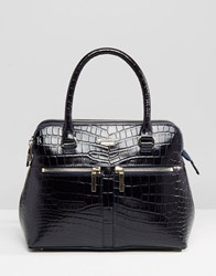 Modalu Leather Mock Croc Mix Pippa Tote Bag Navy Croc