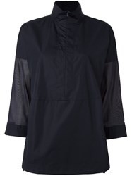 Akris Punto Sheer Sleeve Zipped Top Blue