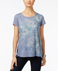 Styleandco. Style Co. Feather Graphic T Shirt Only At Macy's Blue