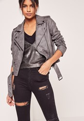 Missguided Faux Leather Biker Jacket Grey