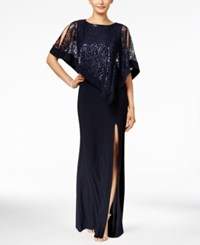 R And M Richards Sequined Lace Cold Shoulder Cape Gown Navy