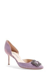 Manolo Blahnik 'Hangisi' Pointy Toe D'orsay Pump Women Pink Fabric