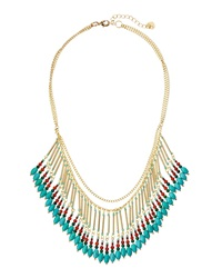 Nakamol Mixed Chain Fringe Necklace Turquoise Red