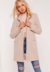 Missguided Short Tailored Faux Wool Coat Grey