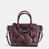 Coach Swagger 21 In Mixed Materials Canyon Quilt Dark Gunmetal Oxblood Bronze