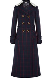 Miu Miu Guipure Lace Trimmed Checked Wool Coat Navy