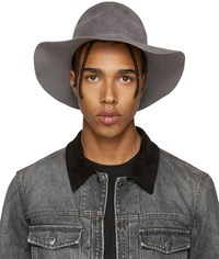 Diet Butcher Slim Skin Grey Felt Wide Brim Hat