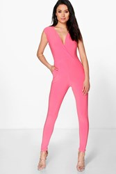 Boohoo Plunge Wrap Front Skinny Leg Jumpsuit Coral