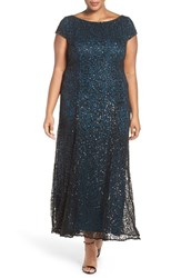 Brianna Plus Size Women's Sequin Embroidered Overlay Satin Gown Black Teal