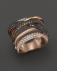 Bloomingdale's White Brown And Black Diamond Crossover Ring In 14K Rose Gold Rose Multi