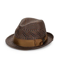 Tommy Bahama Geometric Straw Fedora Black Brown