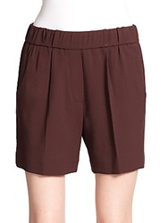 Brunello Cucinelli Elastic Waist Wool Shorts Bisque