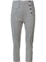Lost And Found Ria Dunn Side Button Tapered Trousers Grey